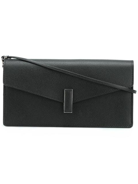 Iside Leather Envelope Clutch Bag in Black