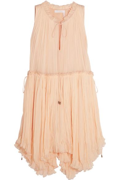 63f6f39bf5 ChloÉ Pleated Silk-Crepon Dress