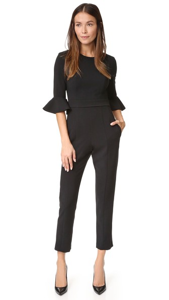 BLACK HALO Brooklyn Bell Sleeve Cropped Jumpsuit in Black