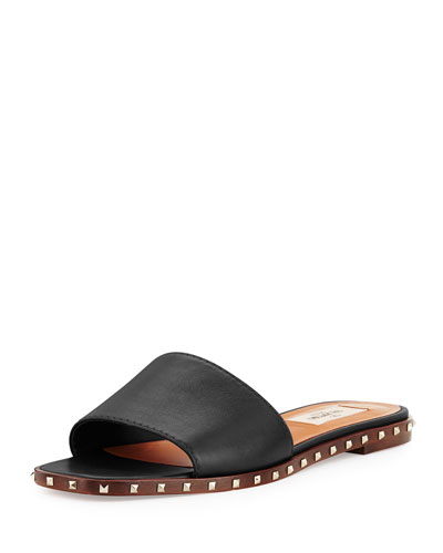 Soul Rockstud Leather Slides in Black