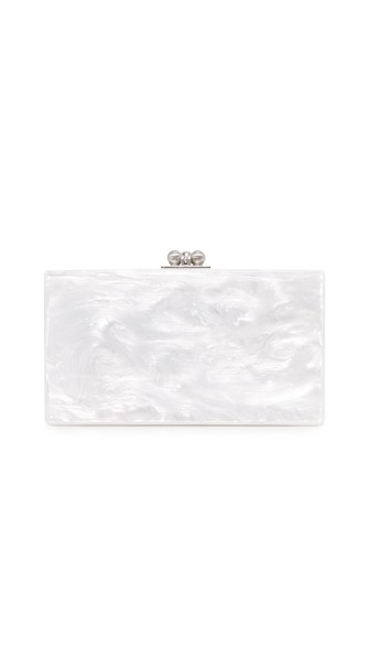 Jean Acrylic Confetti Box Clutch in White