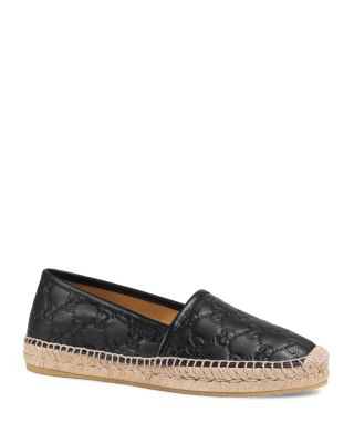 Women'S Pilar Leather Espadrille Flats, Black Gucci Signature