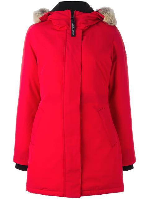 Victoria Down Parka With Genuine Coyote Fur Trim in Red