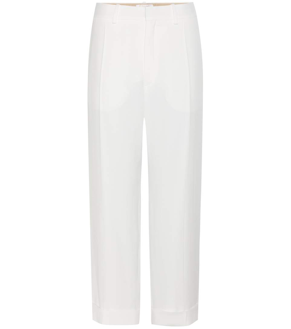 Iconic Cropped Cady Slim-Leg Pants in Ivory