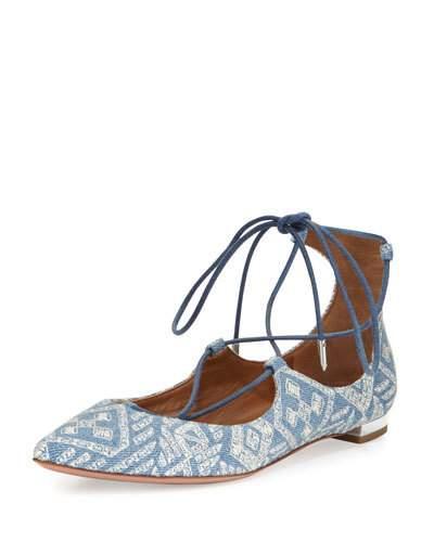 Christy Embroidered Denim Flat, Light Blue