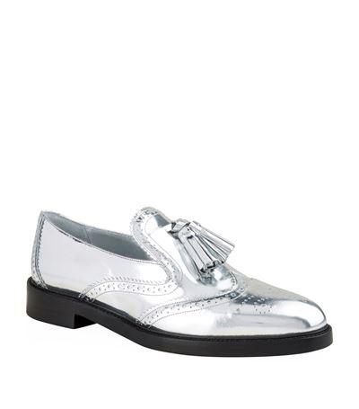 BURBERRY Halsmoor Metallic Leather Tassel Loafers, Silver