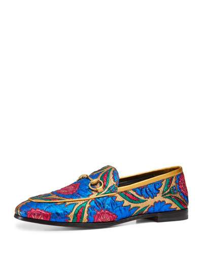 New Jordaan Embroidered Jacquard Loafers, Multi Colored