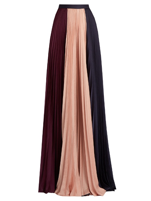 ROKSANDA Sion Tri-Colour Pleated Satin Skirt in Colour: Rose-Pink