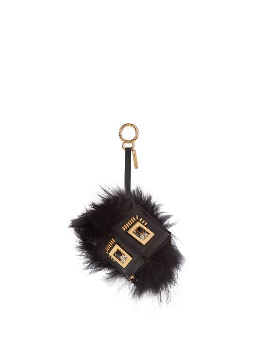 Hypnoteyes Fur, Snakeskin And Leather Bag Charm, Black Multi