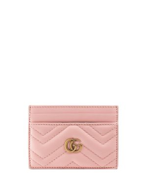 Gg Marmont Quilted Leather Cardholder in Blush