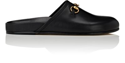 Horsebit Leather Backless Loafers, Black
