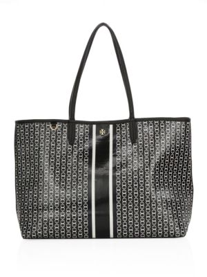 Black Gemini Link Stripe Canvas Tote Bag