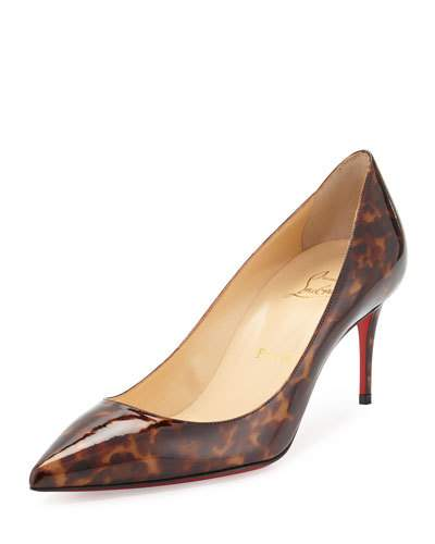 CHRISTIAN LOUBOUTIN Decollete Leopard-Print Patent Red Sole Pump, Testa Di Moro in Brown