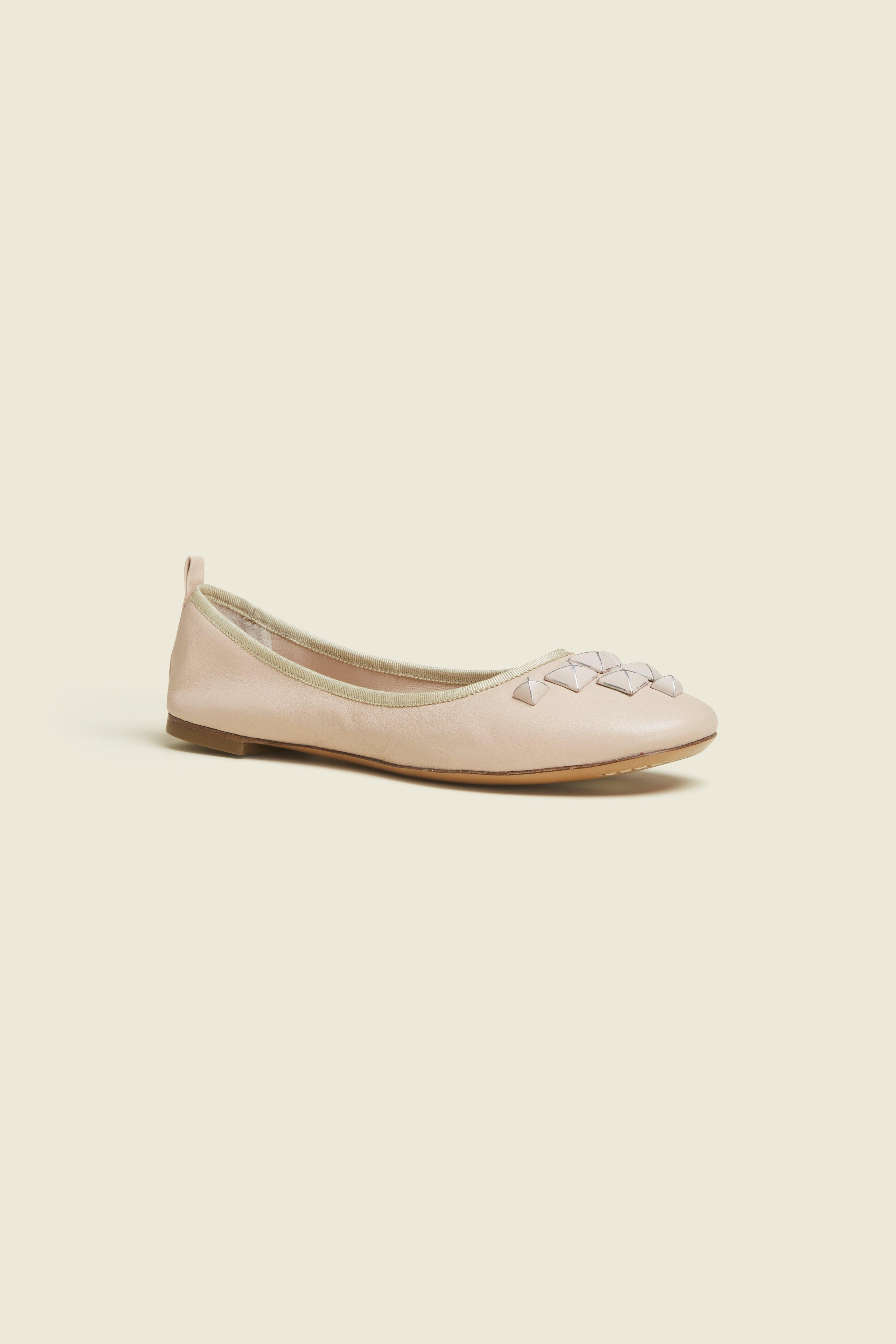 4b8b540b Cleo Studded Leather Ballet Flats, Nude