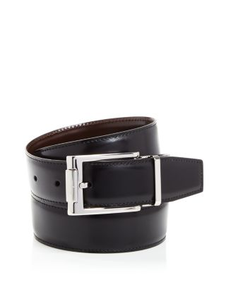 Revival Textured Reversible Belt With Shiny Rhodium-Tone Double Gancini Buckle in Black