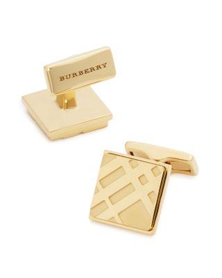 BURBERRY Square Check Cufflinks, Silver