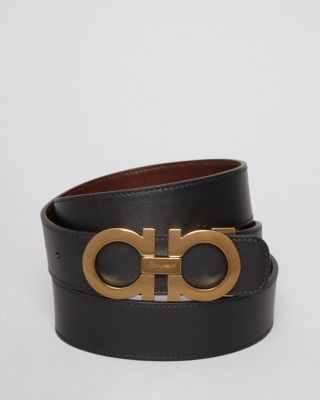 Smooth Reversible Belt With Shiny Goldtone Double Gancini Buckle in Multi