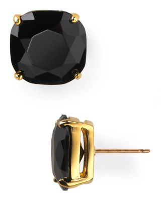 Mini Small Square Semiprecious Stone Stud Earrings, Jet