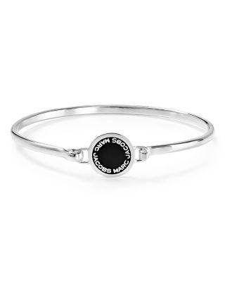 Enamel Logo Disc Hinge Bracelet in Black
