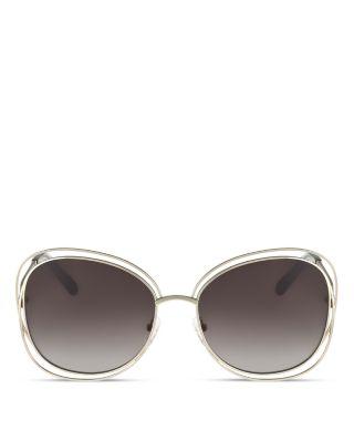 Women'S Carlina Oversized Round Sunglasses, 60Mm, Gold/Light Gray