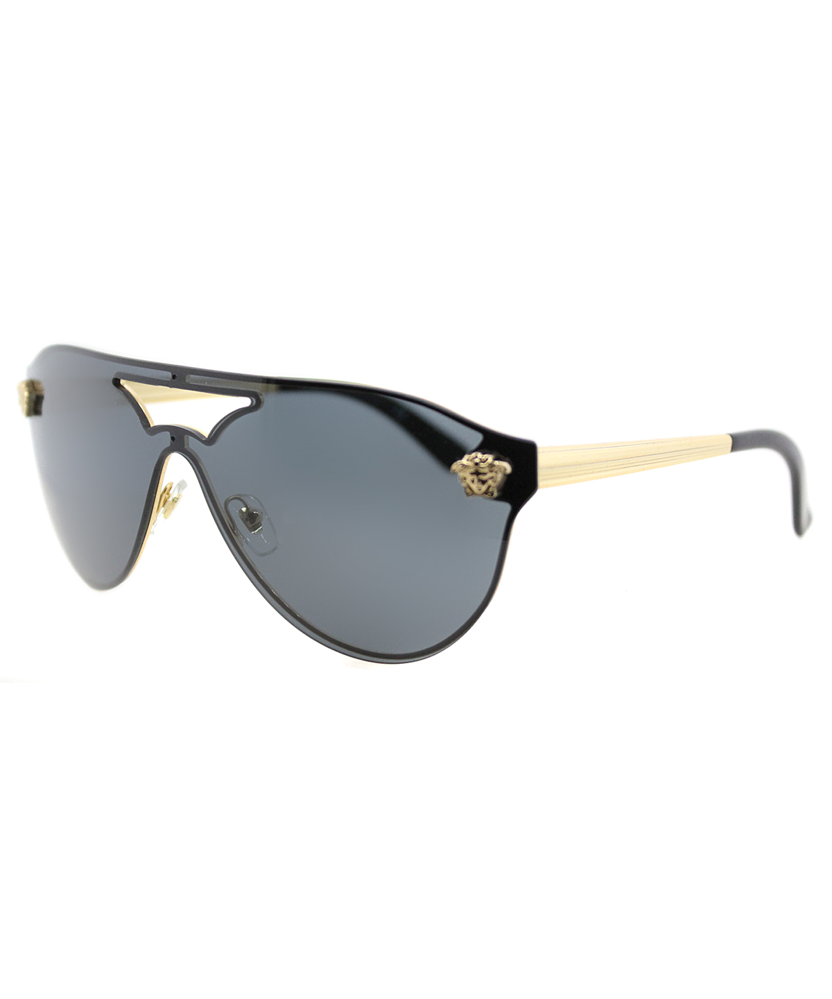 Mirrored Shield Brow-Bar Sunglasses, Gold/Light Gray, Gold/Lt Gray in Gold/Brown Mirror