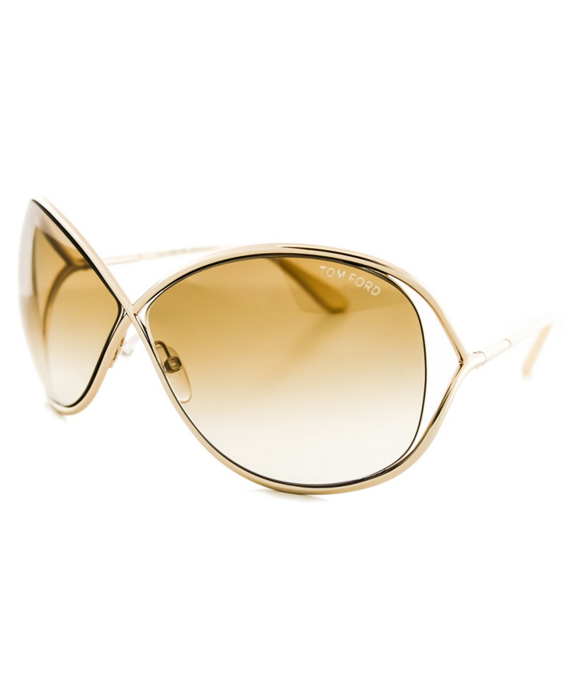 Miranda 68Mm Open Temple Oversize Metal Sunglasses - Shiny Rose Gold/ Brown, 28F