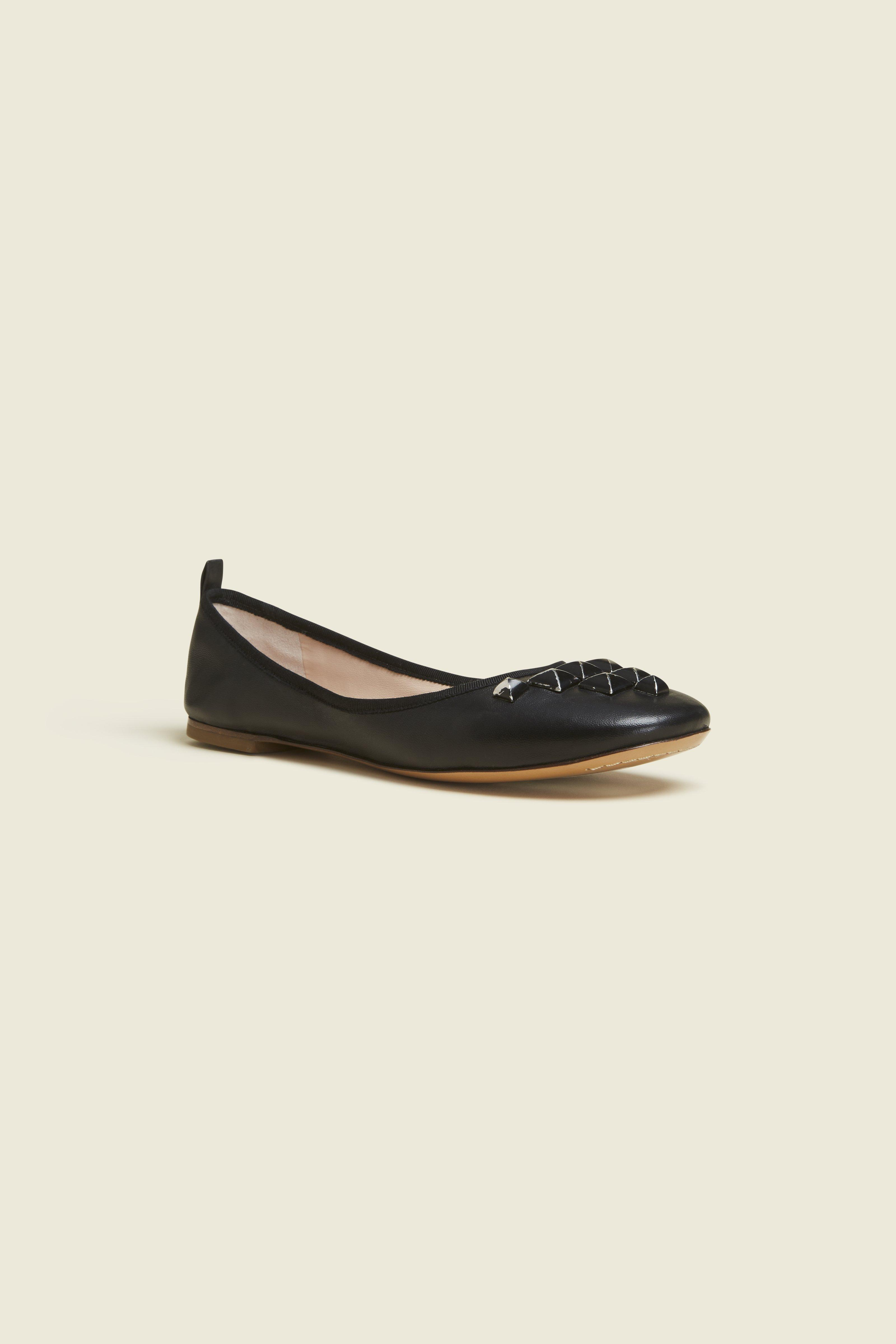 Cleo Studded Leather Ballerina Flats in Black