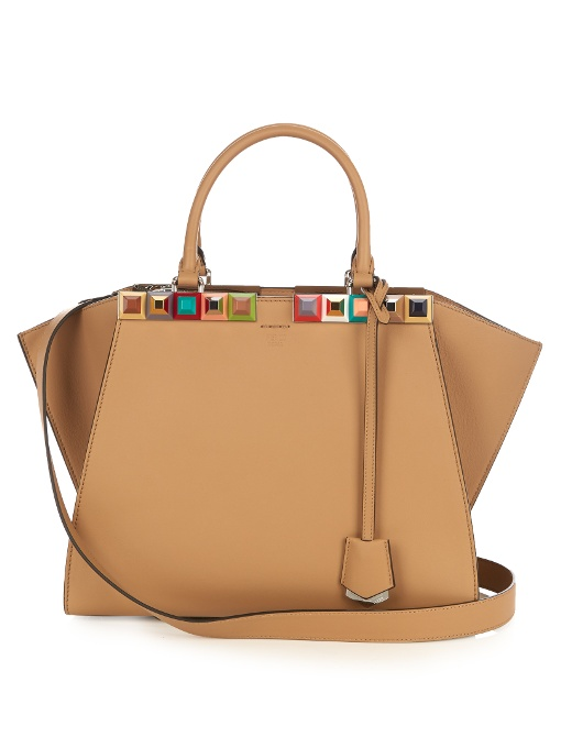 3Jours Embellished Leather Tote, Almond-Taupe