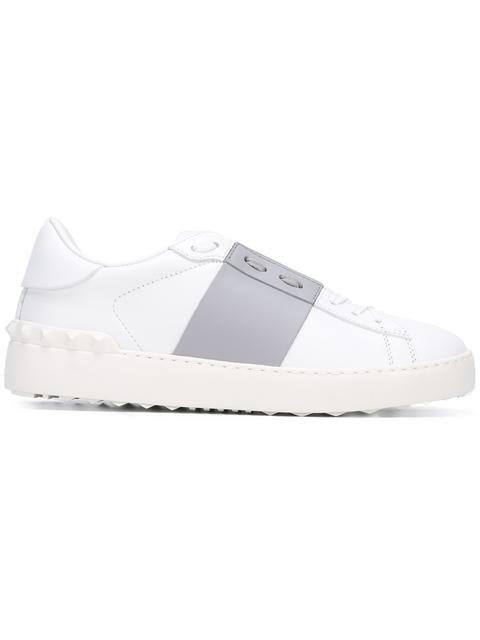 Women'S Contrast Patent Panel Stud Sneakers In White