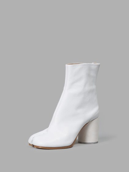 Tabi Split-Toe Leather Ankle Boots, White