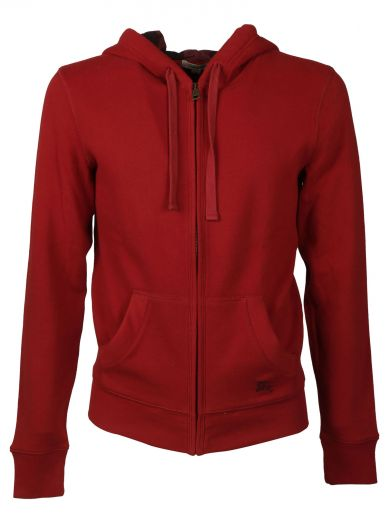 Check Detail Jersey Hooded Top in Red