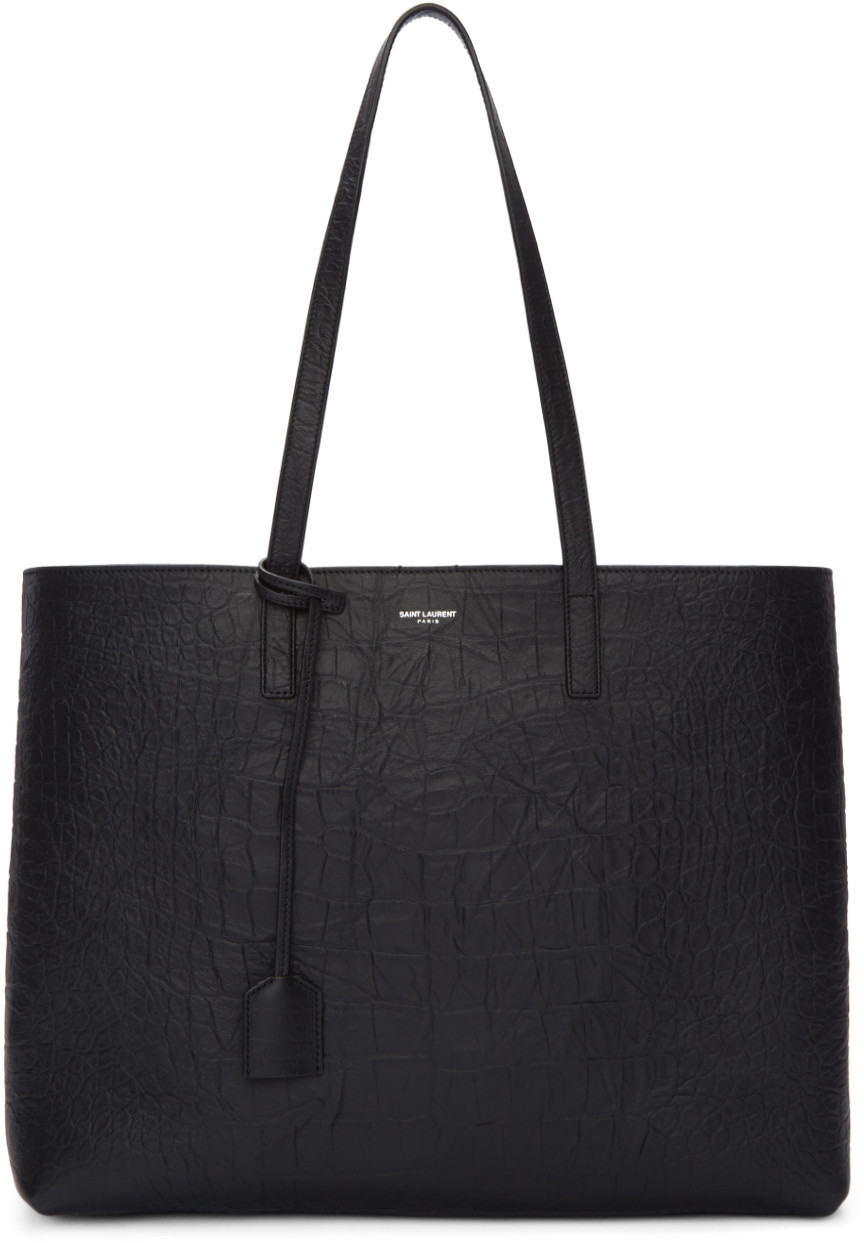 Black Croc-Embossed Large Shopping Tote Bag, Nero /Porcellana