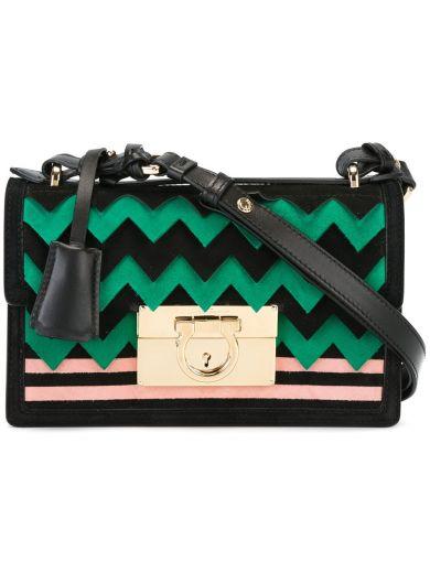 Salvatore Ferragamo Small Gancio Lock Shoulder Bag In Nero Verde ... 38eda4d171602