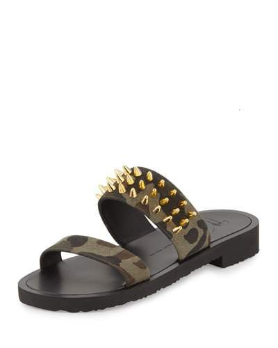 Giuseppe Zanotti Fabric camouflage sandal with studs IAN Buy Cheap Low Shipping Fee Low Price Outlet Sale Sale In China Q07eu