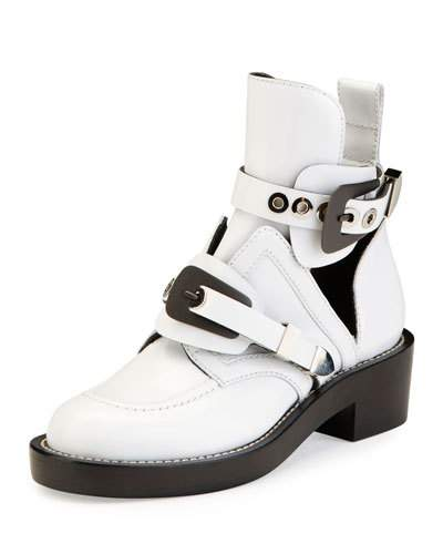 Ceinture Cut-Out Leather Ankle Boots, Blanc