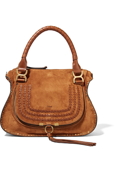 The Marcie Medium Whipstitched Suede Tote, Light Brown
