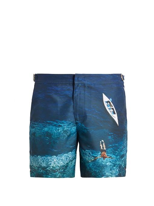 ORLEBAR BROWN 'Bulldog Photographic' Swimmer Print Swim Shorts in Blue
