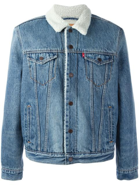 Ex-Boyfriend Denim Trucker Jacket W/ Faux-Fur Lining in Blue