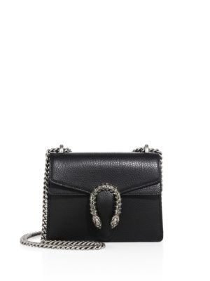 Dionysus Mini Textured-Leather Shoulder Bag in Black