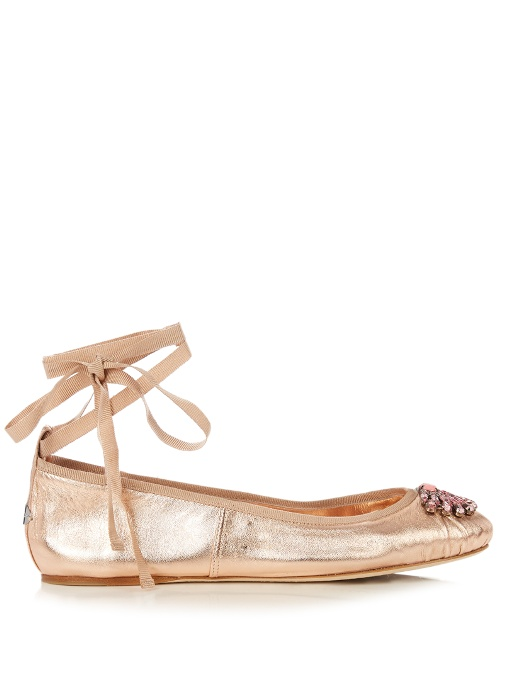 Jimmy Choo Leather Embellished Flats Extremely For Sale 2018 H9Abpq