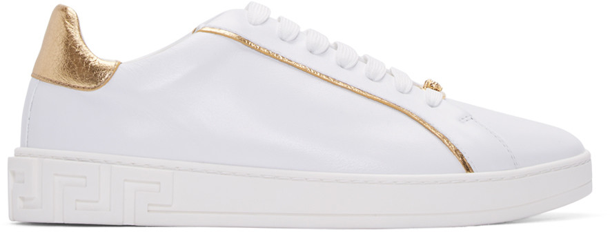 Grecco Signature Accented Leather Low-Top Sneakers, White