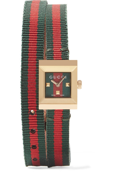 G-Frame Square Nylon Wrap Strap Watch, 14Mm X 18Mm in Multicolour