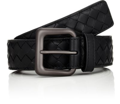 BOTTEGA VENETA Men'S Intrecciato Leather Belt, No Color, Brown