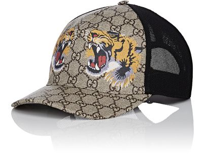GUCCI Tigers-Print Gg Supreme Baseball Hat, Dark Brown/Black in Neutrals