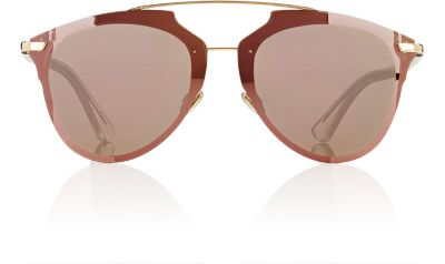 Reflected Prism 63Mm Oversize Mirrored Brow Bar Sunglasses - Gold/ Crystal