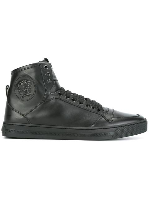 Medusa Smooth Leather High Top Sneakers, Black