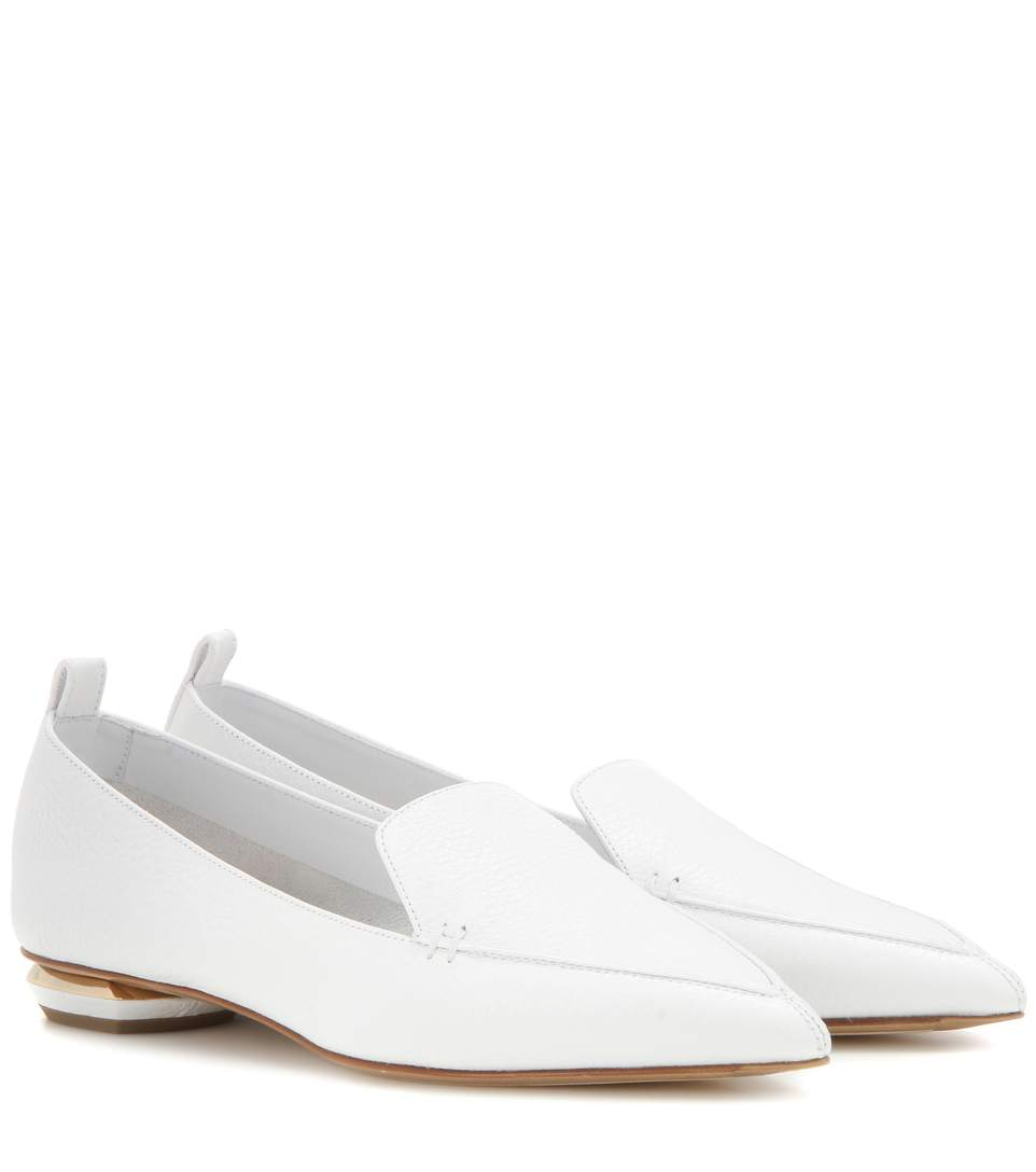 Beya Bottalato Leather Loafers in White