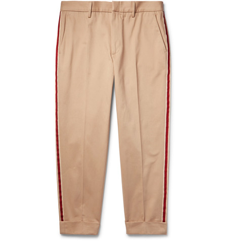 GUCCI Tapered Cropped Webbing-Trimmed Cotton-Twill Chinos, Oatmeal