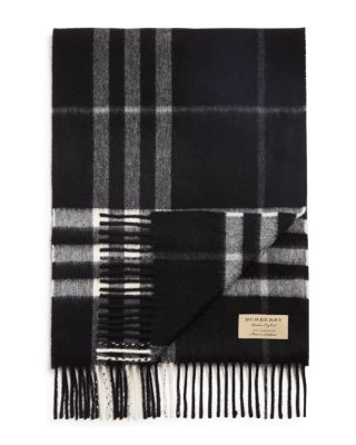 Reversible Metallic Check Cashmere Scarf in Black