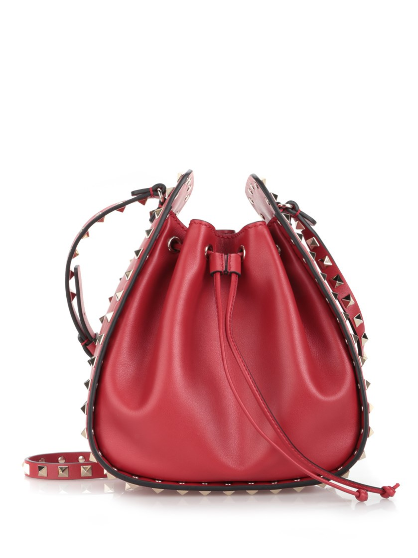 Rockstud Small Leather Drawstring Bucket Bag, Red